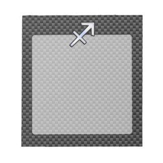 Chrome Like Sagittarius Sign Carbon Fiber Print Notepad