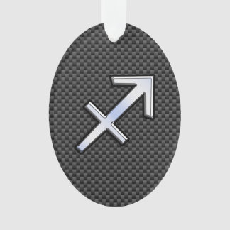 Chrome Like Sagittarius Sign Carbon Fiber Print Ornament