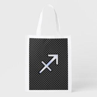 Chrome Like Sagittarius Sign Carbon Fiber Print Reusable Grocery Bag