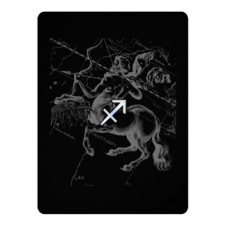 Chrome Like Sagittarius Zodiac Sign Hevelius Decor Card