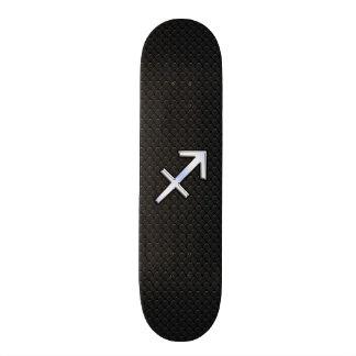 Chrome Like Sagittarius Zodiac Sign on Black Skateboard