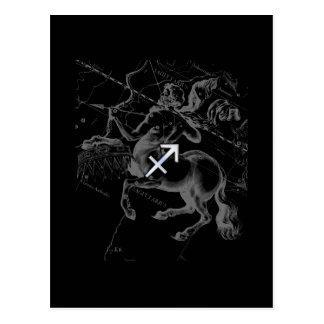 Chrome like Sagittarius Zodiac Sign on Hevelius Postcard