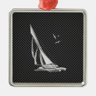 Chrome Like Sailboat on Carbon Fiber Metal Ornament