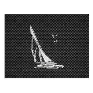 Chrome Like Sailboat on Carbon Fiber Postcard