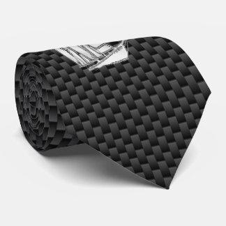 Chrome like Sailboat on Carbon Fiber style print Tie