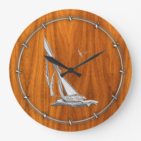 Chrome Like Sailboat on Teak Veneer Large Clock