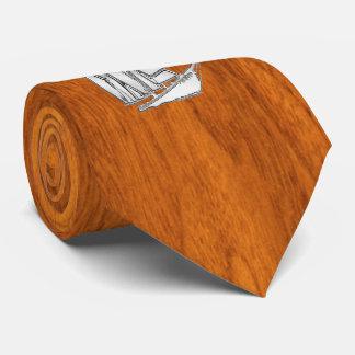Chrome like Sailboat on Teak Veneer style print Neck Tie