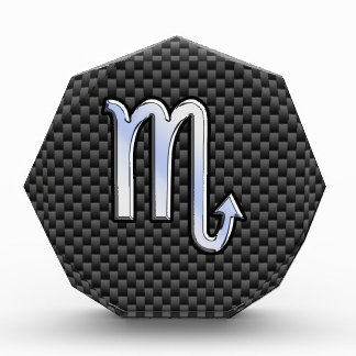 Chrome Like Scorpio Zodiac Sign Carbon Fiber Print Award