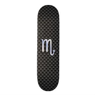 Chrome Like Scorpio Zodiac Sign Carbon Fiber Print Skateboard Deck