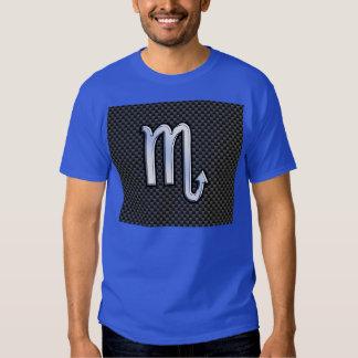 Chrome Like Scorpio Zodiac Sign Carbon Fiber Print T-Shirt