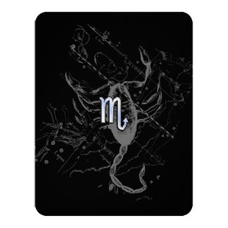 Chrome like Scorpio Zodiac Sign on Hevelius Decor Card