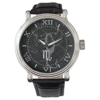 Chrome like Scorpio Zodiac Symbol on Hevelius Dial Wrist Watch