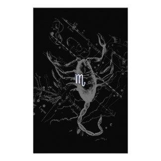 Chrome like Scorpio Zodiac Symbol on Hevelius Stationery