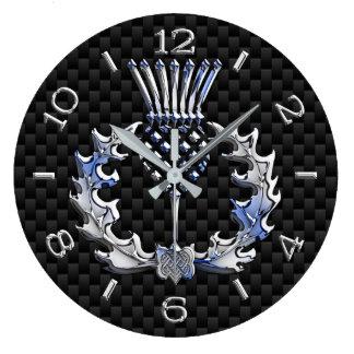 Chrome Like Scottish Thistle Black Dial on a Large Clock