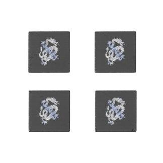 Chrome like silver Dragon Black Snake Skin style Stone Magnet