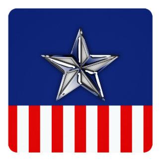 Chrome Like Silver Star Festive Patriotic Colors Card