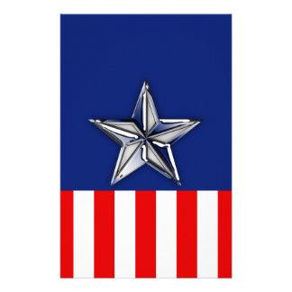 Chrome Like Silver Star Festive Patriotic Colors Flyer