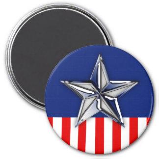Chrome Like Silver Star Festive Patriotic Colors Magnet