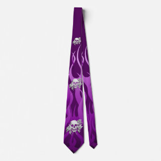 Chrome Like Skull and Roses Purple Racing Flames Tie