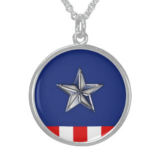 Chrome Like Star on Festive Patriotic Colors Sterling Silver Necklace