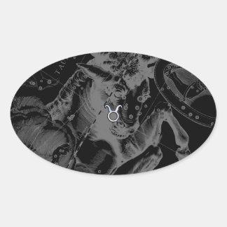 Chrome like Taurus Zodiac on Hevelius Black Oval Sticker