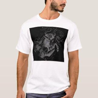 Chrome like Taurus Zodiac Sign on Hevelius Black T-Shirt