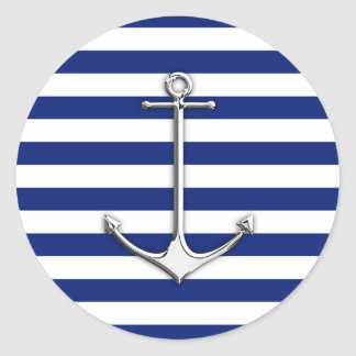Chrome Like Thin Anchor on Nautical Stripes Classic Round Sticker
