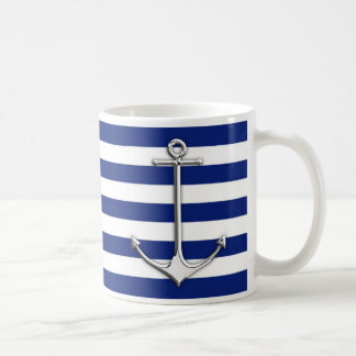 Chrome Like Thin Anchor on Nautical Stripes Decor Coffee Mug