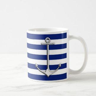 Chrome Like Thin Anchor on Nautical Stripes Decor Coffee Mug