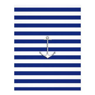 Chrome Like Thin Anchor on Nautical Stripes Letterhead