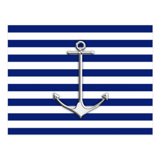 Chrome Like Thin Anchor on Nautical Stripes Postcard