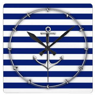 Chrome Like Thin Anchor on Nautical Stripes Square Wall Clock
