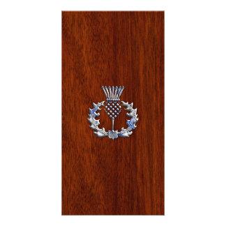 Chrome Like Thistle on Mahogany Wood Style Card