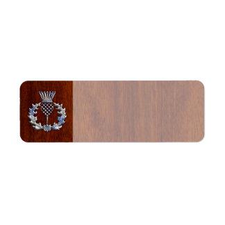 Chrome Like Thistle on Mahogany Wood Style Label
