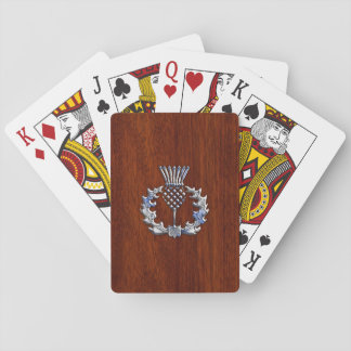 Chrome Like Thistle on Mahogany Wood Style Playing Cards