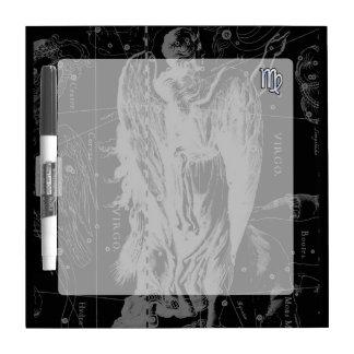 Chrome like Virgo Zodiac Sign on Hevelius in Black Dry-Erase Board