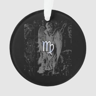 Chrome like Virgo Zodiac Sign on Hevelius in Black Ornament