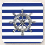 Chrome Like Wheel on Nautical Stripes Drink Coaster