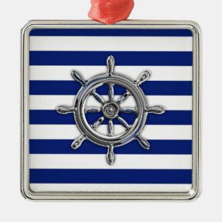 Chrome Like Wheel on Nautical Stripes Metal Ornament
