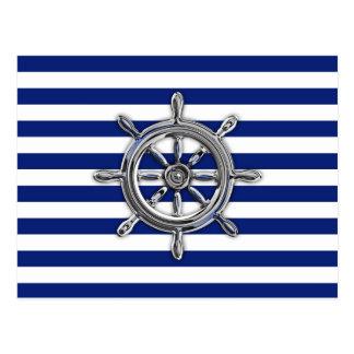 Chrome Like Wheel on Nautical Stripes Postcard