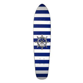 Chrome Like Wheel on Nautical Stripes Skateboard Deck
