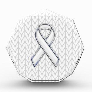 Chrome Like White Knit Ribbon Awareness Print Acrylic Award