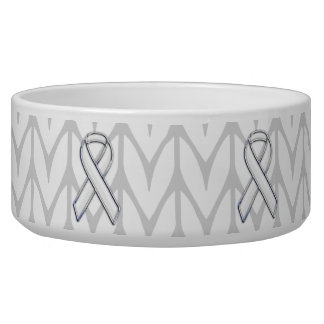 Chrome Like White Knit Ribbon Awareness Print Bowl