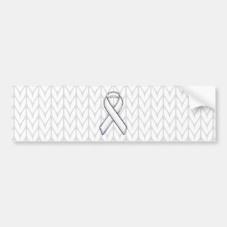 Chrome Like White Knit Ribbon Awareness Print Bumper Sticker