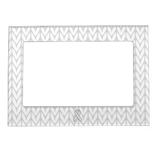 Chrome Like White Knit Ribbon Awareness Print Magnetic Frame