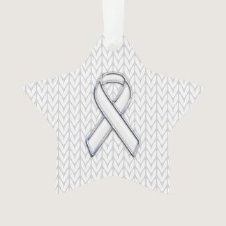 Chrome Like White Knit Ribbon Awareness Print Ornament
