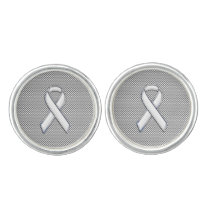 Chrome Like White Ribbon Awareness Carbon Fiber Cufflinks