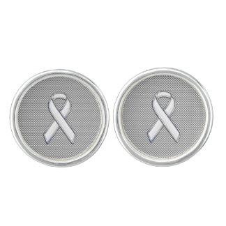 Chrome Like White Ribbon Awareness Carbon Fiber Cufflinks
