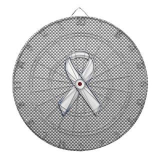 Chrome Like White Ribbon Awareness Carbon Fiber Dartboards