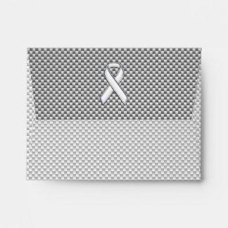 Chrome Like White Ribbon Awareness Carbon Fiber Envelope